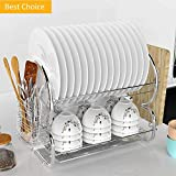 """Dtemple 2-Tier Stainless Steel Dish Drying Rack Kitchen Cup Tray Cutlery Dish Drainer with Drain Board 17.2'' x 14.8'' x 9.8"""" (US STOCK)"""