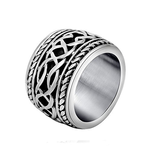 MASOP Cool Men's Titanium Stainless Steel Cross Retro Style Sovereign Ring Size 13