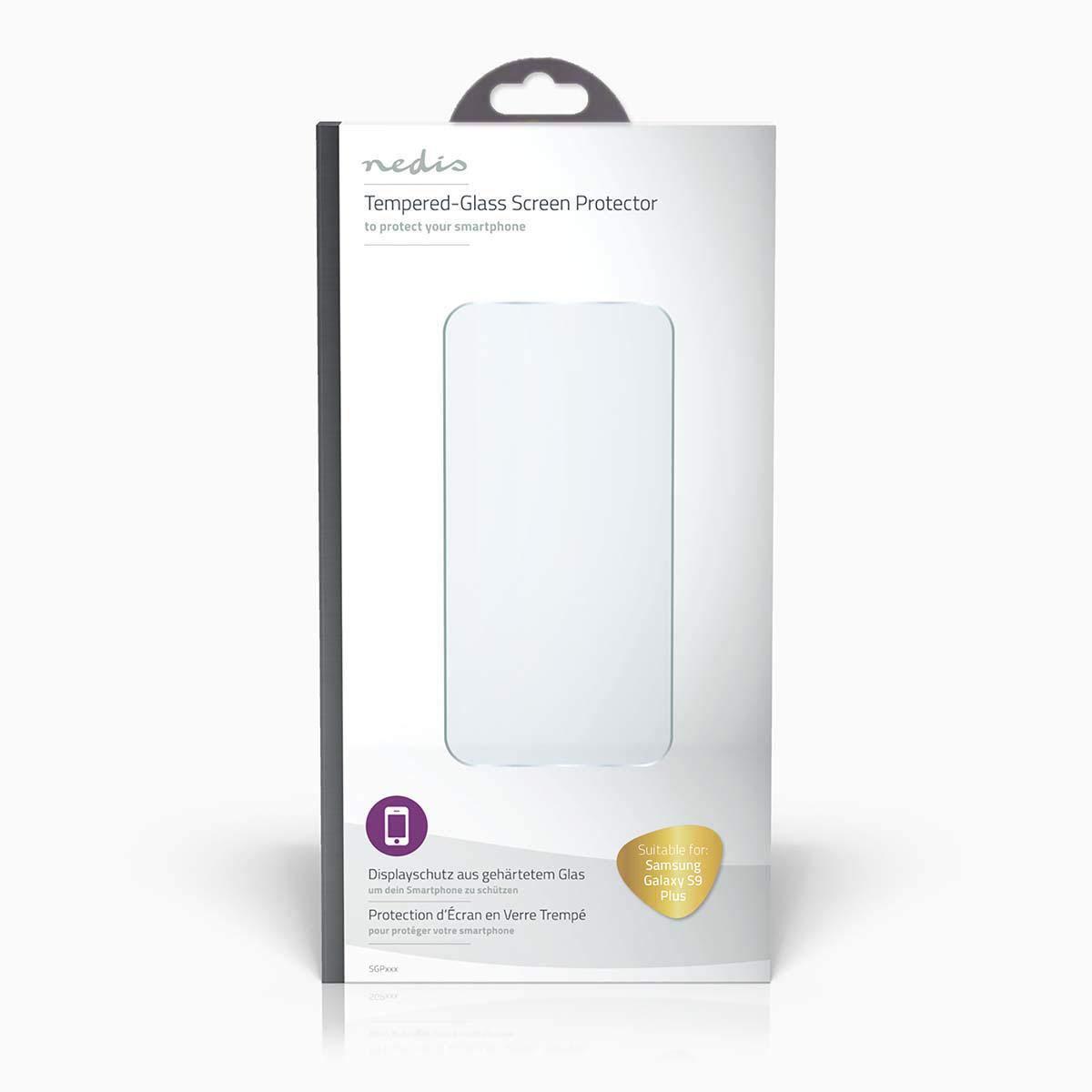 Transparent Nedis SGP10016TP Protection d/Écran en Verre Tremp/é pour Samsung Galaxy S9 Plus
