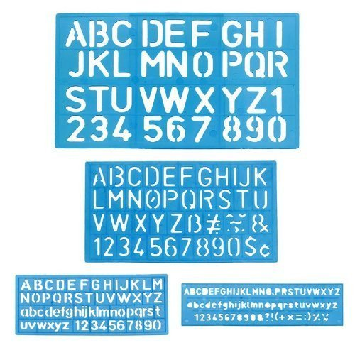 1 X Letter and Number Stencil Sets - Sizes 8, 10, 20, 30mm - Assorted (Non Glare Plastic)