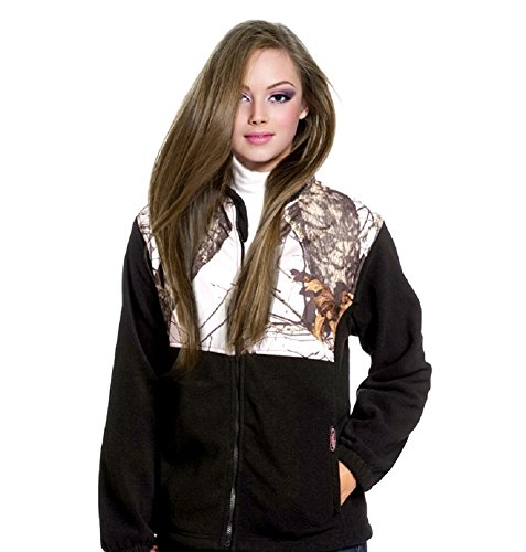 Amazon.com: Mossy Oak Pink Snow Camo & Black Fleece Jacket, Womens ...