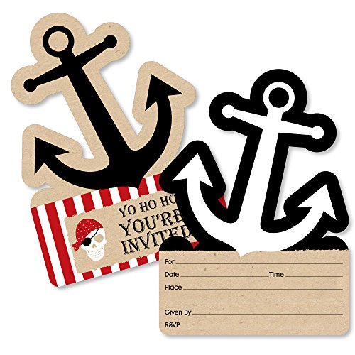 Beware of Pirates - Shaped Fill-In Invitations - Pirate Birthday Party Invitation Cards with Envelopes - Set of 12 -