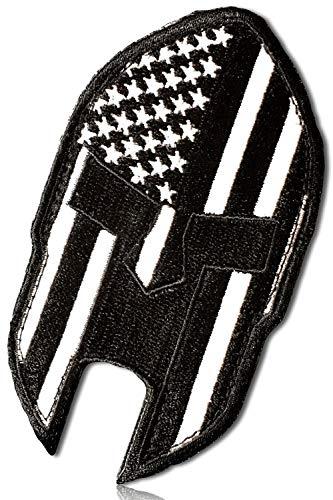 Outlined Stars Stripes Patriotic American Flag Roman Soldier Legendary Spartan Warrior Armor Helmet Face Portrait Two Tone Hook & Loop Fastener Patch [3.5