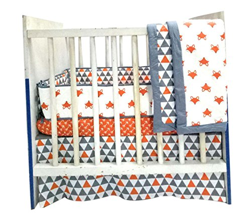 (Bacati Playful Fox 3-Piece Portable Crib Bedding Set,)