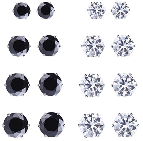 Womens Girls 8 Pairs White and Black Stainless Steel Cubic Zirconia Stud Earrings Pierced Round Stud Earrings 3-8mm (Round Pierced Earrings)