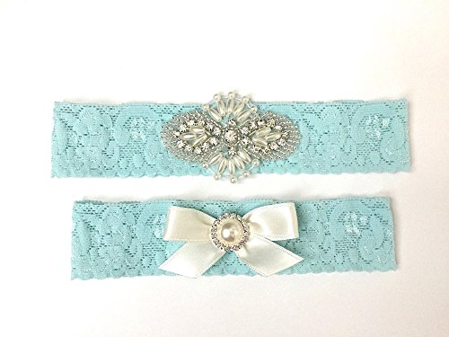 Blue Wedding Garter, Handmade Bridal Garter with Light Blue Lace, Rhinestone ()