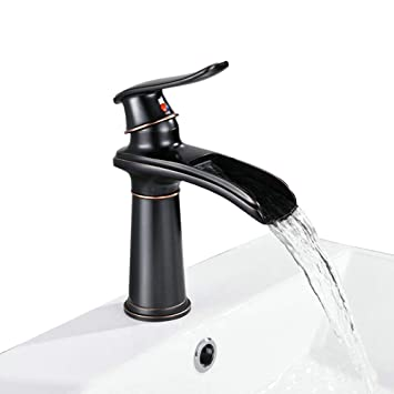 Bathroom Waterfall Faucet Single Handle Single Hole Vessel Sink