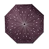 Spring fever Small Portable 3 Folding Anti-UV Sturdy Compact Umbrella Windproof Lightweight Purple