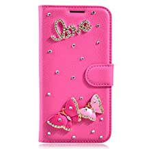 Galaxy S5 Active Case,Gift_Source [Card Slot] [Kickstand] 3D Bling Crystal Handmade Diamond Leather Wallet Magnet Flip Folio Case for Samsung Galaxy S5 Active G870 [Butterfly Love]