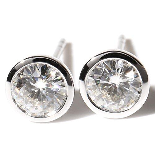Moissanite Solid Earrings (TransGems 1.0 CTW Lab Moissanite Diamond Stud Earrings in Bezel Setting 18K White Gold for Women (GH)
