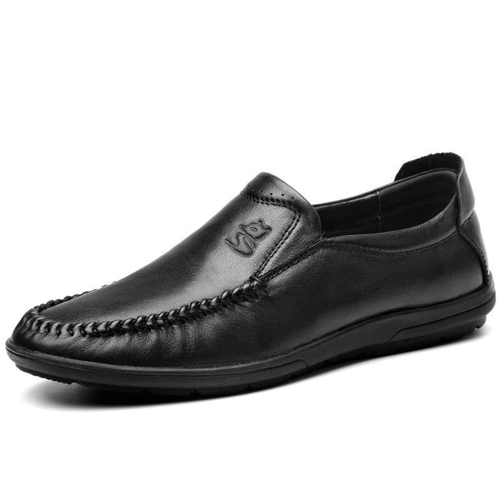 Qiusa Große Größe weiche Sohle Schuhe für Driving Männer Casual Echtes Leder Driving für U-TIPP Loafers (Farbe : Schwarz, Größe : EU 41) - f78611