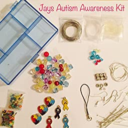 100 Piece Autism Awareness Jewelry Making Bead Variety Kit, Glass, Swarovski Crystals, Tibetan/Sterling Silver,Findings, 4mm-24mm