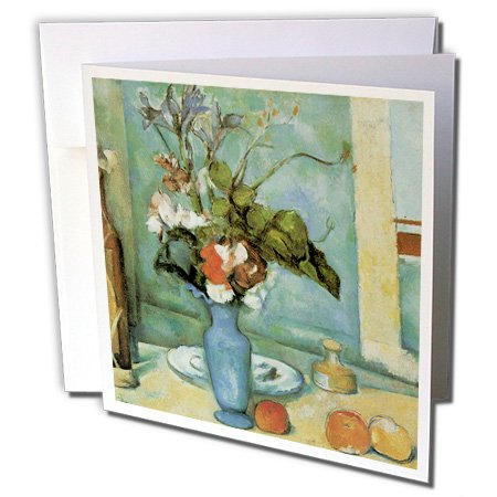 3dRose Blue Vase by Paul Cezanne Impressionist Still Life - Greeting Cards, 6 x 6 inches, set of 6 (gc_126445_1)