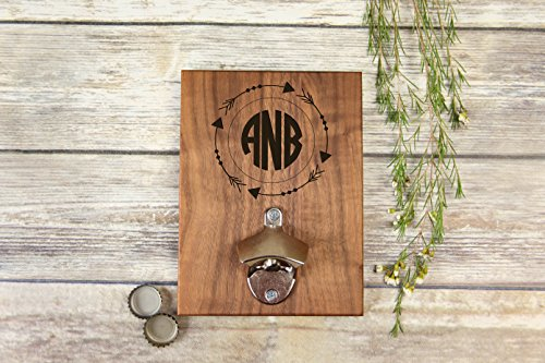 Personalized Engraved Walnut Bottle Opener - Arrows Circle Monogram (Sawtooth Monogram)
