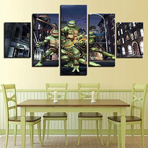 OJKYK Prints On Canvas Teenage Mutant Ninja Turtle Wall Art 5 Panel Decorative Animation Painting Poster Artwork,B,10x15x2+10x20x2+10x25x1 -