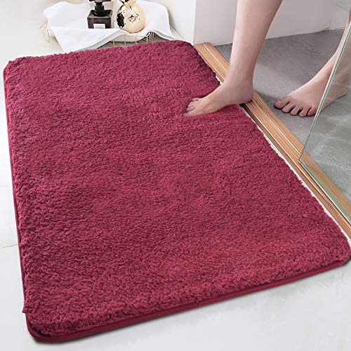 Bath Rug COSY HOMEER 32×20 Inch,Non-Slip Soft Thickness Shaggy Water Absorbent Bathroom Carpet,100% Mirco Polyester…