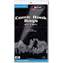 "BCW Current Size Comic Bags,6-7/8"" x 10-1/2"" 2"" Flap"