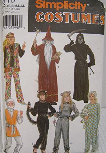 Simplicity 5916 Costume Pattern - Wizard Cat Knight Grim Reaper Adult XS-XL. -
