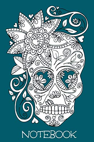 Halloween Skeleton Head Drawing (Notebook: Teal Illustrated Sugar Skull 6x9 Blank Lined Notebook with 120)
