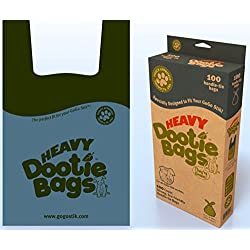 GoGo Stik Dootie Bags (Large) and Heavy Dootie Bags (Very Large) - 100 Count Large Dog Waste Poop Bags with tie Handles and Gussets. Great fit for Your Pooper scoopers.