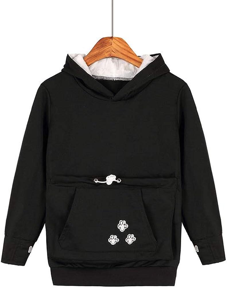 Winter Fuzzy Fleece Kangaroo Pocket Holder Women Pet Pouch Hoodie with Cat Ears Small Pet Carrier Sweatshirt