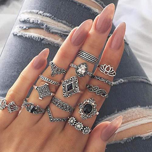 Deniferymakeup Vintage Silver Rings Fashion Lotus Engraving Ring Sunflower Ring Black Gemstone Ring Set Finger Accessories Jewelry Set Dainty Rainbow Moonstone Silver Tone Ring Set (Set of 15)