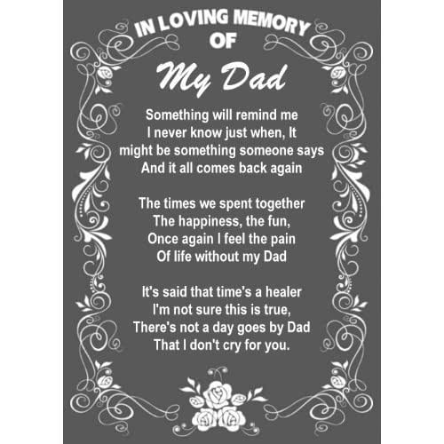 My Dad Dads And Father In Memory Of: Amazon.com: In Loving Memory Of My Dad Poem (metal Sign