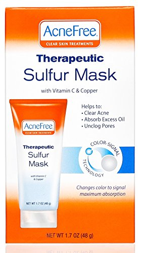 AcneFree Sulfur Mask 1.7 oz with Vitamin C and Copper, Acne Treatment for Clearing Acne, Absorbing Excess Oil and Unclogging Pores