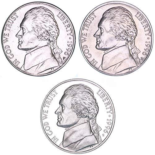 1996 P D S Jefferson Nickel Year Set BU & Gem Proof 3 ()