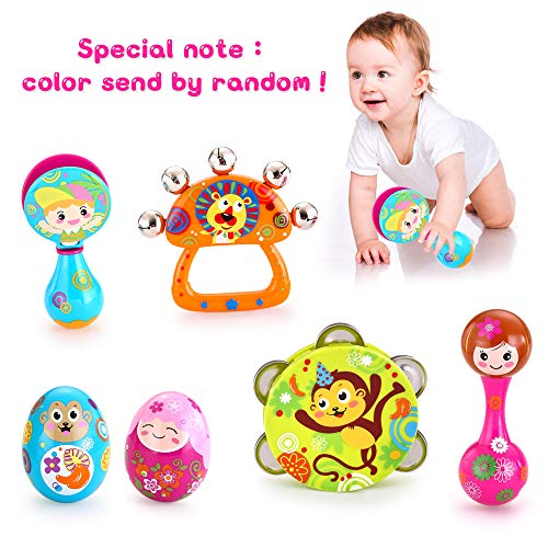 VATOS Musical Instruments for Kids Toddlers,Musical Infant Baby Toy, 6PCS Baby Drum Rattle Maracas Castanets Egg...