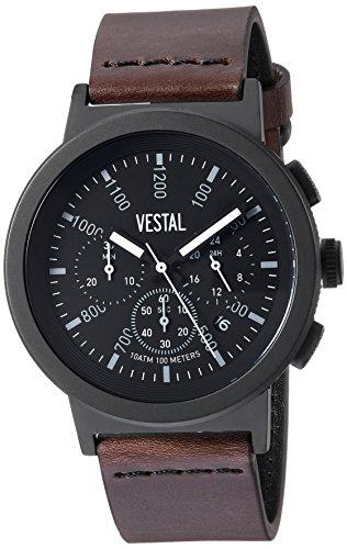 Vestal Quartz Stainless Steel and Leather Dress Watch, Color:Brown (Model: SLR44CL02.DBNK)