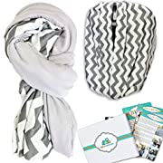 Nursing Cover for Breastfeeding - Reversible Stretchy Breathable Multi Use Nursing Scarf - 2 Sided for Added Softness and Privacy - Chevron/Solid Grey Baby Car Seat Canopy w/ Gift Box - 2018 New