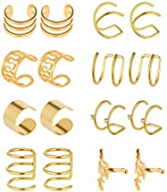 Taicanon Stainless Steel Ear Clips, 8 Pair Non Piercing Earrings Hoop Ear Cuffs for Women, Girls Supplies
