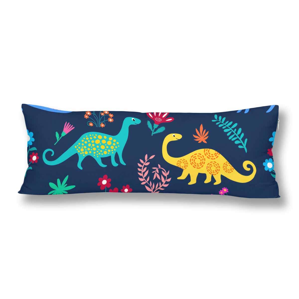 InterestPrint Dinosaurs Cute Kids Pattern Colorful Cartoon Animals Body Pillow Covers Case Protector Rectangle with Zipper 21x60 Twin Sides for Sofa Decorative