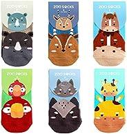 ZOO SOCKS Toddler Socks with Grip for Baby Boys & Girls Anti Slip Non Skid Zoo Animal S