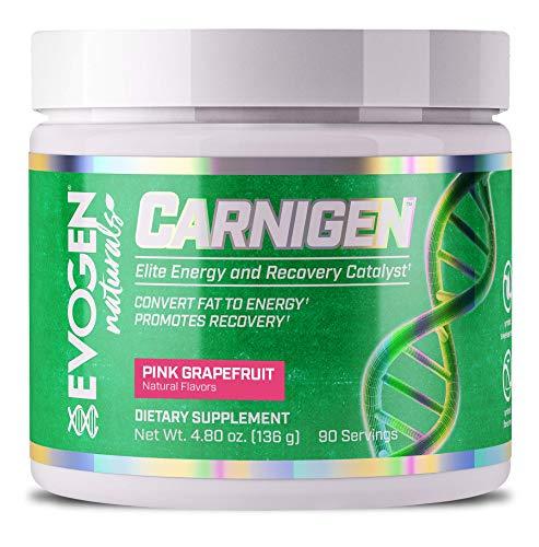 EVOGEN CARNIGEN Naturals, Carnitine Fat Burning Powder, Carnitine Tartrate, Acetyl-l-carnitine, Carnitine Orotate, Carnitine Fumarate, Bioperine (Pink Grapefruit)
