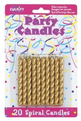 Gold Birthday Candles - 20 Pkg ~ Culpitt Gold Spiral ~ Cake Decorating Candles