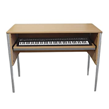 Monarch Music Keyboard Desk With Sliding Shelf And Cable Ports In Beech EF6003