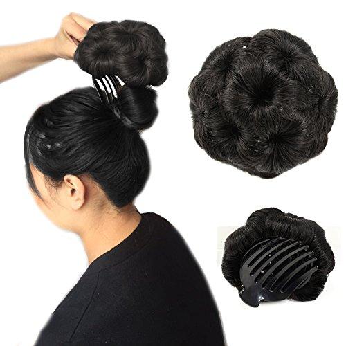 Bun Hair Extension (A&R@100% Human Hair Donut Bun Hair Extension Chignon Hairpiece Extensions Wigs(natural black))