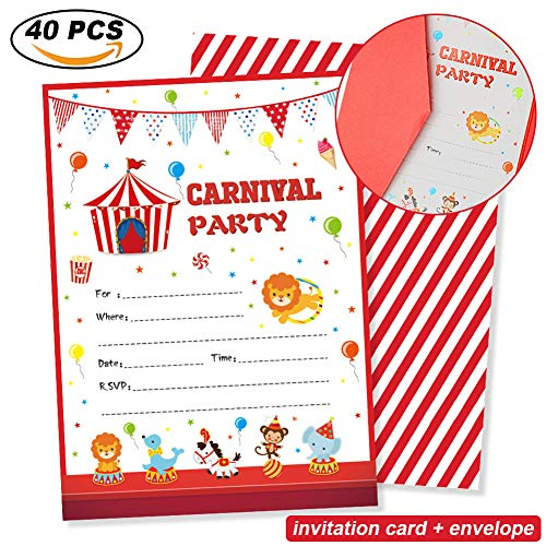Carnival Circus Invitations - Carnival Circus Party Invitations with Envelopes (20 Count)-Carnival Circus Party Supplies-Birthday Party or Baby Shower