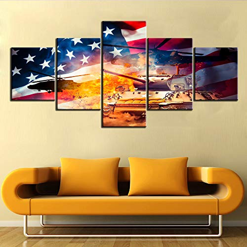 Native American Wall Decor Military Wall Art Army Posters and Prints on Canvas 5 Piece Modern Artwork Home Decor for Living Room Wooden Framed Gallery-wrapped Stretched Ready to Hang(50