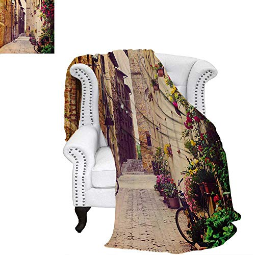 (Cityscape Summer Quilt Comforter Street in Pienza Tuscany Italy with Hanging Basket Plants Flowers Bicycles Picture Digital Printing Blanket 60