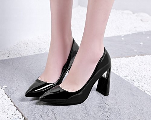 Pied De Charme Femmes En Cuir Verni Bout Pointu Chunky Chaussures À Talons Hauts Chaussures Noir
