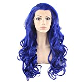 Mxangel Long Wavy Celebrity Half Hand Tied Synthetic Lace Front Jewelry Blue Cosplay Party Wig
