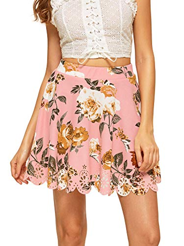 (SHEIN Women's Basic Solid Flared Mini Skater Skirt Small Floral)