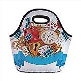lazy teapot - Neoprene Lunch Bag,Alice in Wonderland,Mad Design of Cards Clocks Tea Pots Keys Flowers Fantasy World Illustration Decorative,Multi,for Kids Adult Thermal Insulated Tote Bags