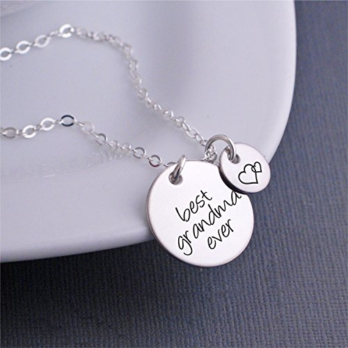 Silver Best Grandma Ever Necklace, Mother's Day Gift for Grandma Jewelry with Heart Charm