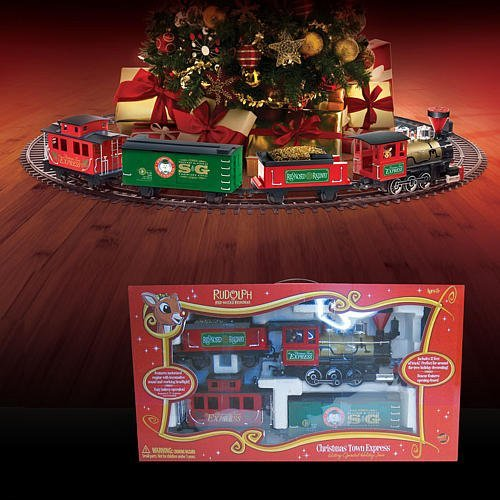 amazoncom rudolph the red nosed reindeer christmas town express train set toys games - Train Set For Christmas Tree