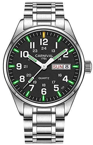 Swiss Brand Analog Quartz Watch Outdoor Military 25 Year Super Bright Self Luminous Blue Or Green (Silver Black Green Light)
