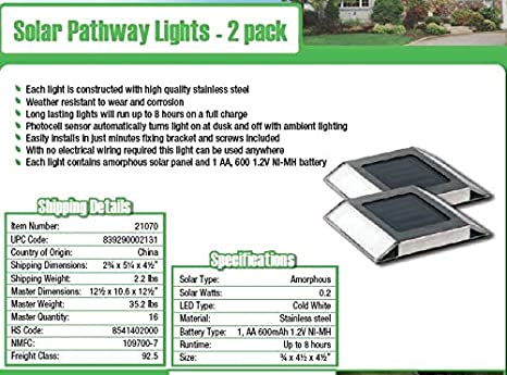 Nature Power 21070 Solar Powered LED Stainless Steel Pathway Lights, 2-Pack